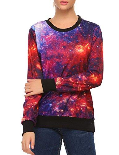 jingjing1 Women Galaxy Sweatshirt 20D Digital Printing Roll Neck Pullover Cosmic Tops