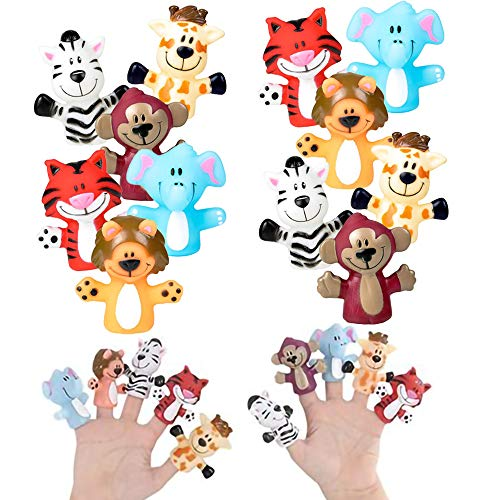 The Dreidel Company Zoo Animal Finger Puppet, Fun Party Favors (12-Pack)