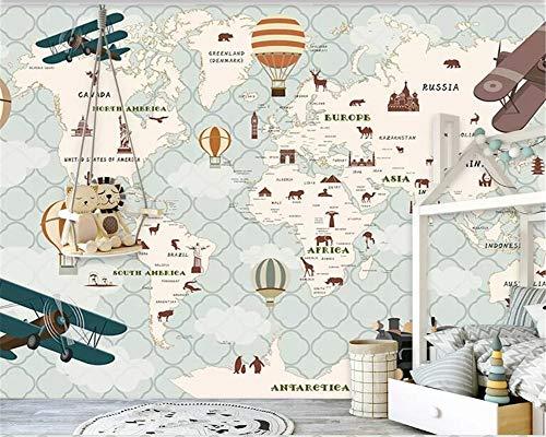 Papel pintado mural adhesivo de pared Custom 8 photo 3d Wallpaper Avión Vela Animales Mapa del mundo globo aerostático Decoración de la habitación de los niños Papel tapiz 3d