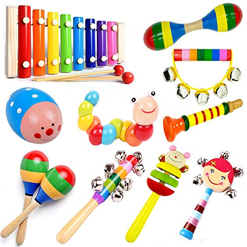 Alikeke 10 PCS Kids Toys Musical Instruments Backpack Include Xylophone Harmonica Bells Maracas Percussion Toys Early Education Learning Toys for Toddler Baby and Preschool Children