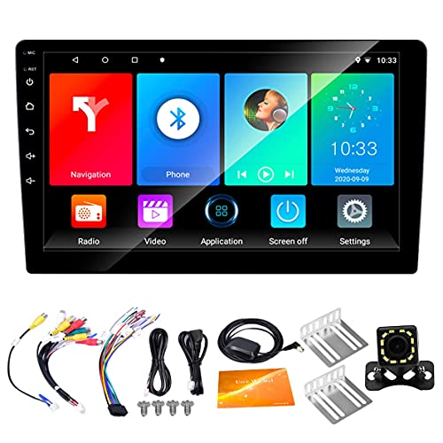 Kaxofang 2 DIN Autoradio Android 10.1 Schermo da 9 Pollici per Auto Lettore MP5 Radio Navigazione GPS WiFi per Auto B