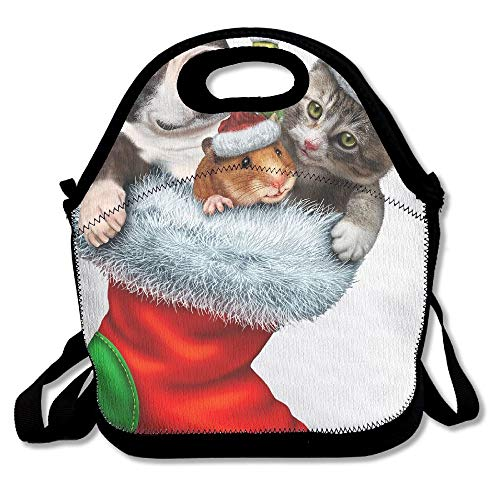 Bag hat CUAJHa Red Festive Socks Full Of Animals Lunch Tote Awesome Lunch Handbag Lunchbox Box For School Work Outdoor