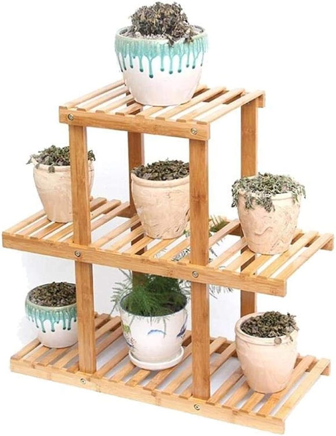 Flower Stand-Bamboo Craft Multi-Layer Flower Pot Plant Display Rack Storage Rack, Indoor and Outdoor Landing Multi-Function Rack (Size   3 Tier)
