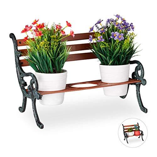 Relaxdays Mini Blumenbank, Gusseisen & Holz, Blumenständer für 3 Blumentöpfe, Ø 9 cm, Garten Deko Bank, braun/grau-grün
