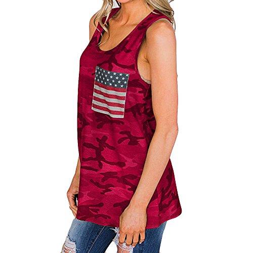 ZHANSANFM T-Shirts Damen Tank Top Elegant Sommer Ärmellose Rundhals Tops Basic Casual Locker und Bequem Oberteile Flaggenstreifen Drucken Weste Tee Tops (XL, rot-2)