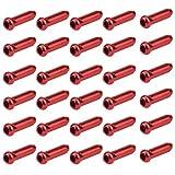 wangjiangda Tapa de Cable 30 Piezas Tapas del Extremo del Cable Freno Bicicleta Funda Cable Cambio MTB de Aluminio Diámetro Interno 2 mm Terminaciones de Cable de Freno y Cambio de Bici (Rojo)