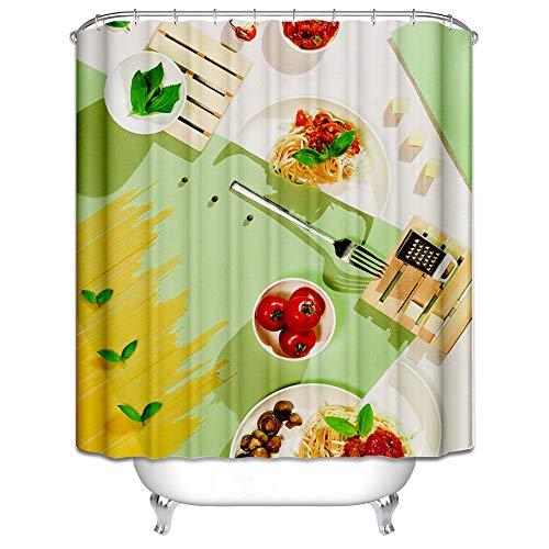 DOLOVE 3D Duschvorhang Schimmel Teigwaren Mit Tomaten Duschvorhang 165x200 cm Badewannenvorhang Bunt