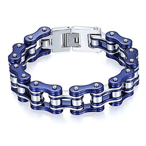 JewelryWe Schmuck Herren Biker Kette Armband, Groß Schwer Zwei Töne Hochglanz Poliert Fahrradkette Motorradkette Armkette Armreif aus Edelstahl, Blau Silber
