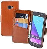 Suncase Book-Style Tasche kompatibel Samsung Galaxy Xcover 4s Ledertasche Leder Schutzhülle Hülle Hülle (mit Standfunktion & Kartenfach) Cognac