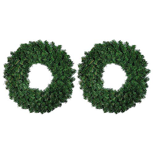 Suading 2 Pcs 30cm Artificial Pine Wreath Garland for Front Door Window Fireplace Christmas Decoration