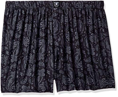 STACY ADAMS Men's Big and Tall Boxer Short, Black Paisley, 2XL