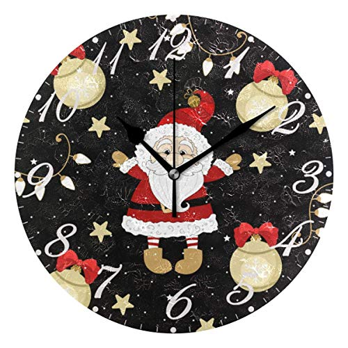 Jacque Dusk Reloj de Pared Moderno,Feliz Navidad Bola de Copo de Nieve,Grandes Decorativos Silencioso Reloj de Cuarzo de Redondo No-Ticking para Sala de Estar,25cm diámetro