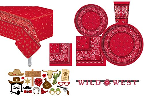 Serves 30   Essential Party Pack   Red Bandana Western Party Supplies   9' Dinner Paper Plates   7' Dessert Paper Plates   12 oz Cups   3 Ply Napkins Lunch and Beverage   Banner: Wild West   20 Photo Props   2 Table Cover   Red Bandana Western Birthday Party Supplies