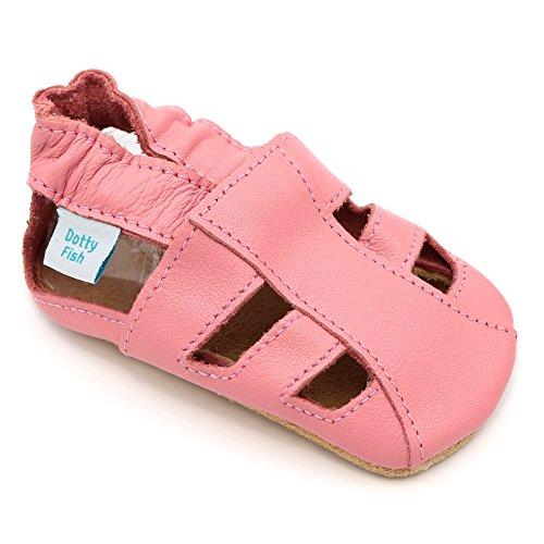 Dotty Fish Zapatos Cuero Suave bebés. Sandalias Rosas