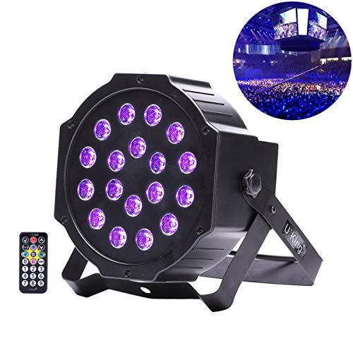 UKing UV Schwarzlicht mit 18 * 3W LED Fernautostimme DMX Steuerung Par Stadiums Beleuchtung für Hochzeits Kirchen Galerie Ausgangs Party Kunst Show (18LED)