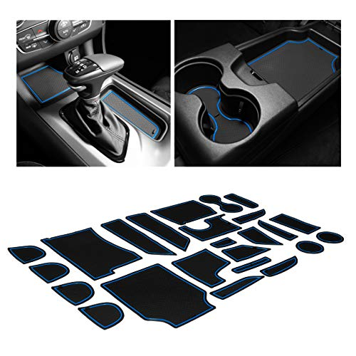 CupHolderHero for Dodge Charger Accessories 2015-2020 Premium Custom Interior Non-Slip Anti Dust Cup Holder Inserts, Center Console Liner Mats, Door Pocket Liners 24-pc Set (Blue Trim)