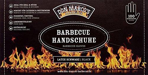 DON MARCO'S BARBECUE BBQ Handschuhe, Latex, Schwarz, Größe S, 1er Box (100 Stck)
