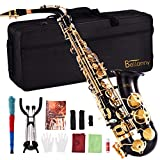 Sararoom Bellanny Alto E Flat Saxophone, Professional Golden Lacquer Finish Sax Full Kit, with Cleaning Cloth Rod, Gloves, Carrying Case, Straps, Mouthpiece, Reed, Cork Grease, Cleaning Cloth, Manual
