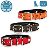PetTec Comfortable Dog Collar, Permanent & Robust; Made with Strong, Tear Resistant Trioflex, Perfect Size for Big or Small Dogs, Great Fit with Padding Weatherproof and Waterproof (Red)