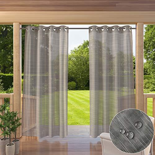 Clothink Outdoor Vorhang 132x245cm mit Ösen Transparent Grau(1 Stück)- mit Raffhalter - Wasserabweisend Schmutzabweisend Blickdicht Sonnenschutz Sichtschutz für Veranda Terrasse Balkon