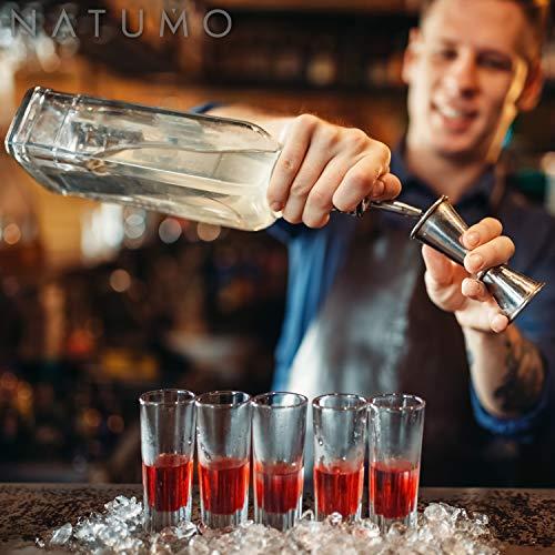 NATUMO ® Cocktail Shaker Set Edelstahl - 10 teiliges Cocktailshaker Set, Cobbler Shaker, Doppel-Messbecher, Stößel, Dosierer, Löffel, Strohhalme - 8