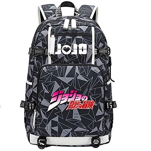 GOYING JoJo's Bizarre Adventure Jonathan Joestar/Joseph·Joestar Anime Backpack Middle Student School Rucksack Daypack for Women/Men with USB-E