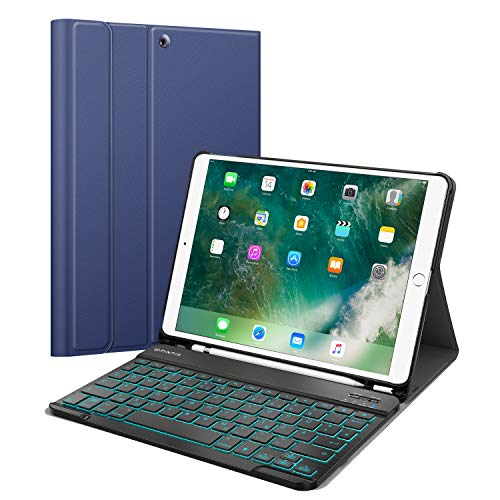 Fintie Backlit Keyboard Case for iPad Air 2019 (3rd Generation) / iPad Pro 10.5 - Ultra Thin Protective Case with Pen Holder, Removable QWERTZ Backlit Keyboard - Navy Blue