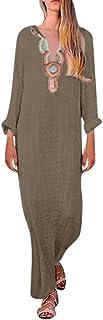 comprar comparacion Reooly Vestido de Verano Vestido de Moda para Mujer con Estampado sin Mangas Vestido Largo Suelto con Dobladillo en V para...