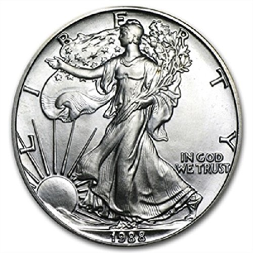 1988 - American Silver Eagle .999 Fine Silver with Our Certificate of Authenticity Dollar Uncirculated