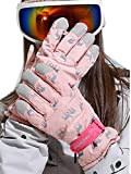 Florry Ski Gloves Pink Elk Winter Snow Gloves Waterproof Head Gloves Touchscreen Snowboard Clothes for Women and Girls