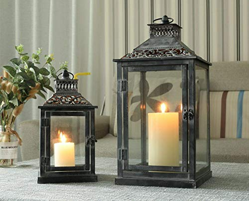 YXZQ Set of 2 Black with Grey Brush Decorative Lanterns Metal Candle Lanterns for Indoor Outdoor Events Parties Weddings Vintage Style Hanging Lantern