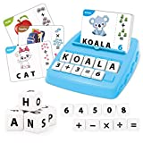 REMOKING Kids Educational Toys Matching Letter Game,Alphabet and Math Puzzle Game with Flash Cards,Board Game for Kid to Learn Counting Numbers and Spelling Words,Toy Gifts for 3-6 Year Old Boys Girls