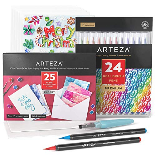Arteza Watercolor Cards and Real Brush Pens Bundle, Painting Art Supplies for Artist, Hobby Painters & Beginners