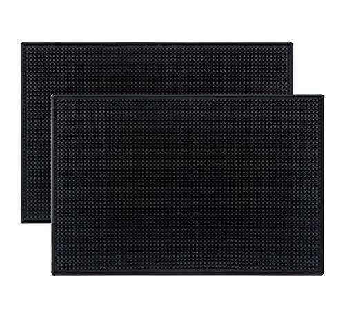Tebery 2 Stück Abtropfmatte Maxi, Trocken-Matte für Geschirr, Thermoplastischer Kunststoff (TPR), 45 x 30 cm, schwarz
