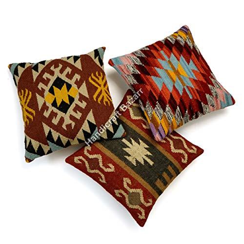3 Pcs Set 18'' Body Pillow Case Hand Woven Wool Jute Throw Cushion Cover Hippie Sham Euro Floor Sofa Kilim Wool Jute Cushion Cover Bohemian Hessian Tassel Wool Jute Pillow Cover (multicoloured)