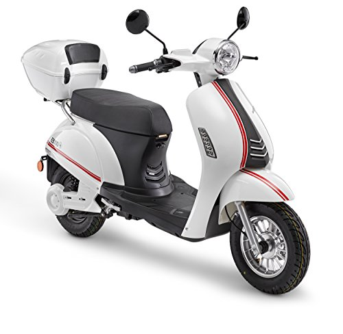Elektroroller LuXXon E3000 - Elektro Scooter mit 3000 Watt, max. 25 km/h, Reichweite bis zu 65 km, weiß