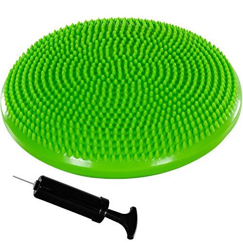 Movit Ballsitzkissen Dynamic SEAT inkl. Pumpe, Durchmesser 33cm, grün, schadstoffgeprüft, Luftkissen Noppenkissen Balance Kissen