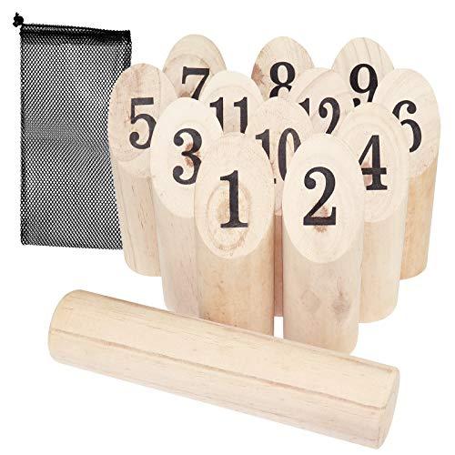WELLGRO finnisches Wurfspiel 14-TLG. - für 2-8 Spieler, massiv Holz, Wikingerspiel inkl. Spielanleitung und Netzbeutel - Wikingerkegeln Nummernkubb