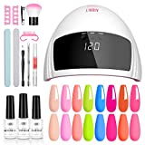 Aibrit Gel Nail Polish Kit with UV Light Nail Lamp, 8 Pcs Bright Colors Soak off Gel Nail Polish Set with Base and Matte/Glossy Top Coat Manicure Set Tools for Starter DIY Salon Nail Art at Home