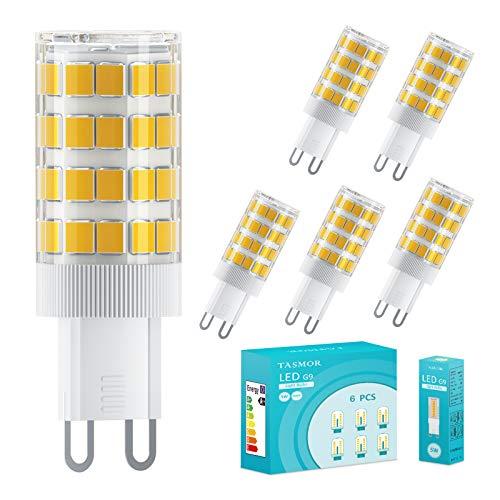 TASMOR Lampadina LED G9 5W, Lampadine G9 Led Luce Calda Equivalenti a 50W, 51-LED SMD2835, 550 Lumen, 3000K Bianco Caldo, Angolo di Fascio 360°, Nessun Lampeggio Non Dimmerabile Confezione da 6 Pezzi…