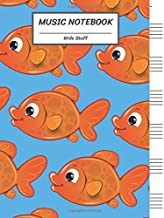 Music Notebook Wide Staff: Many Golden Fish/Blank Music Sheet Notebook,Staff Paper,Music Manuscript Paper,6 Large Staves per page,8.5