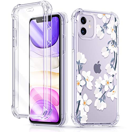 GVIEWIN Floden Series iPhone 11 Case 6.1 Inch 2019, [Built-in Tempered Glass Screen Protector] Full-Body Clear Flower Rugged Bumper Shockproof Protective Phone Cover (Windflower/White)