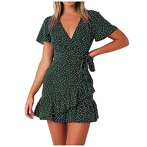 ERNUMK Vestido de verano para mujer, con flores, de cintura alta, con volantes, vintage, mini vestido para la playa, elegante, línea A, verde, S