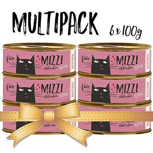 seit 1893 Bubeck Katzenfutter getreidefrei | mit Huhn & Lachsöl | hochwertiges Katzenfutter | 6 x 100g | Katzennassfutter für Junior | hoher Fleischanteil