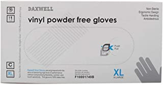 Daxwell Vinyl Powder Free Gloves, 100 Pieces, X-Large