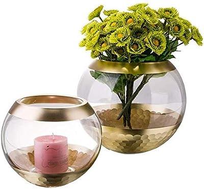 Vases Aquarium Type Glass Transparent Solid Plant Flower Hydroponic Living Room Bedroom Office Home Deacute vase (Color : Gold)