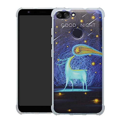 HHDY Asus Zenfone Max Plus (M1) Hülle, Painted Muster Weich Superdünne TPU Silikon Bumper Handyhülle Hülle für Asus Zenfone Max Plus (M1) ZB570TL,Deer und Starry