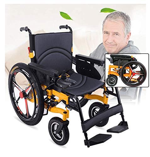 HXCD Faltbarer elektrischer Elektrorollstuhl, älterer behinderter automatischer intelligenter Allrad-Rollstuhl für Behinderte Leichtgewicht, Innen-Außen, Sicherheitsbremssystem, Lithiumbatterie