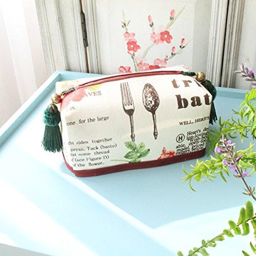 Lianlili British Vino Estadounidense Tela de Color Rojo Caja de pañuelos de Bombeo de cartón Cajas de pañuelos Coche de la Familia Rural nórdicos
