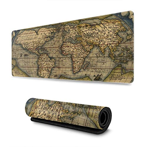 Antique World Map Gaming Mouse Pad XL, Extended Large Mouse Mat Desk Pad, Stitched Edges Mousepad, Long Non-Slip Rubber Base Mice Pad, 31.5 X 11.8 Inch